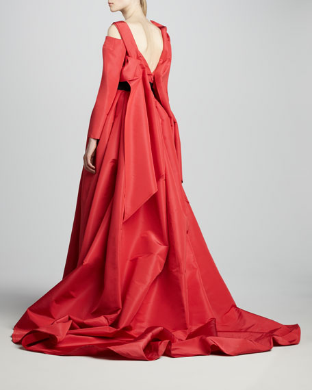 Long-Sleeve Off-the-Shoulder Gown