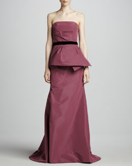 Carolina Herrera Strapless Peplum Gown, Mulberry