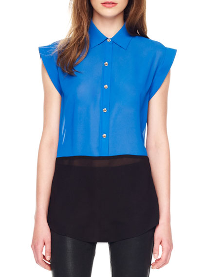 Two-Tone Cap-Sleeve Blouse