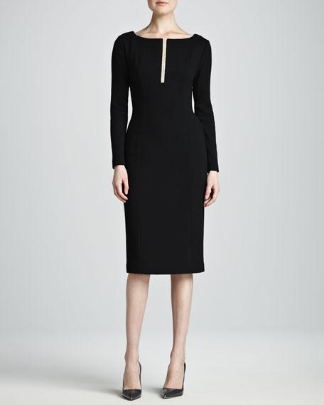 Sheath Dress with Slit at Neckline