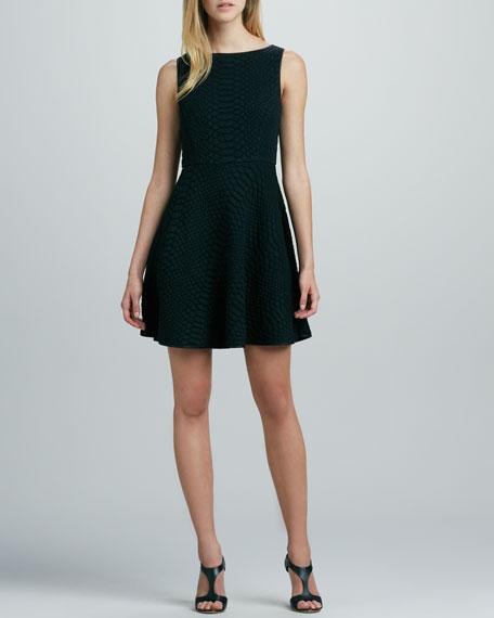 Aimee Crocodile-Jacquard Dress