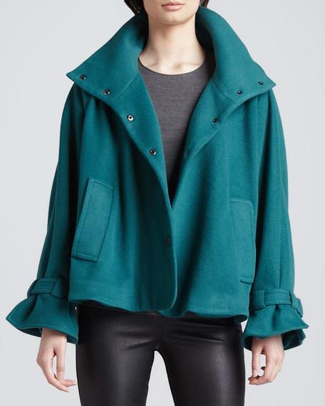 Alexa Ruffle-Cuff Coat