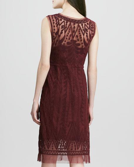 Embroidered-Mesh Sleeveless Dress