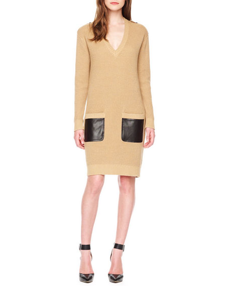 Leather-Pocket Sweaterdress