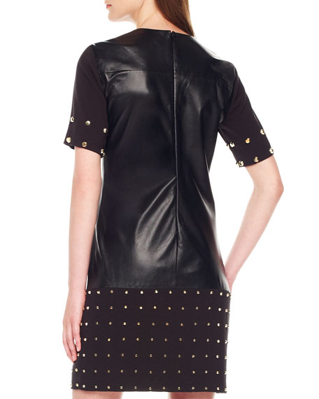 Leather-Center Studded Dress