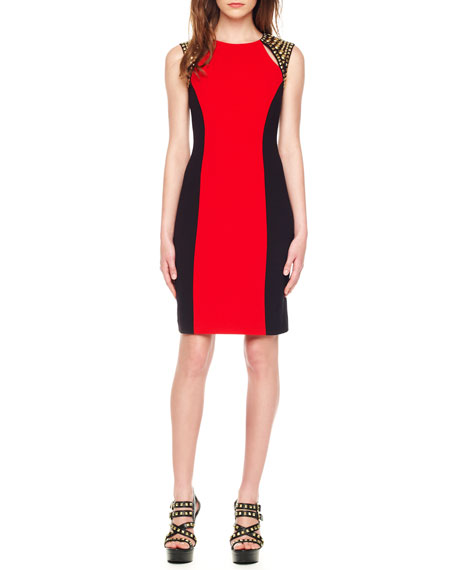 Two-Tone Stud-Shoulder Dress