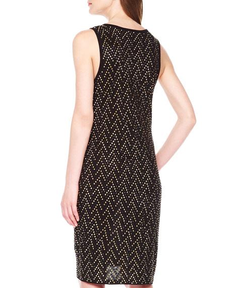 Studded Chevron-Pattern Dress
