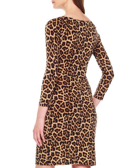 Leopard-Print Zipper Dress