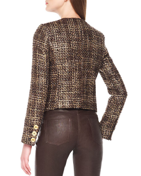 Cropped Tweed Zip Jacket