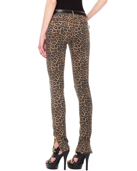 Leopard-Print Zip Skinny Jeans
