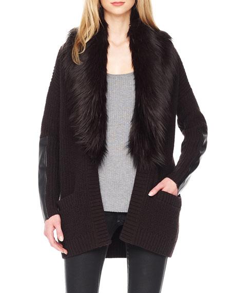 Faux-Fur-Collar Knit Cardigan
