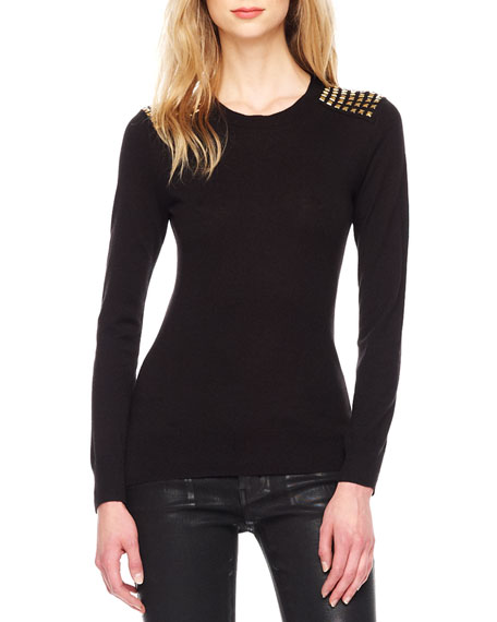 Stud-Shoulder Knit Sweater