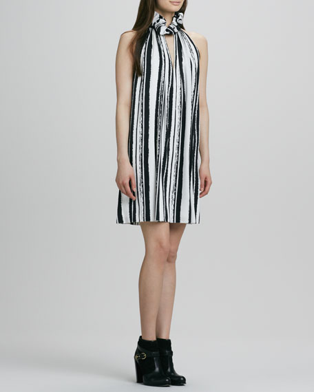Muse Striped Ruffle-Halter Dress