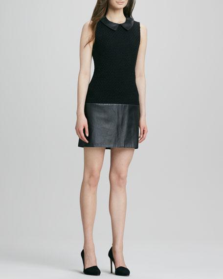 Dallas Collared Leather-Combo Shift Dress