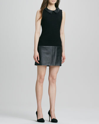 Dallas Collared Leather-Combo Shift Dress