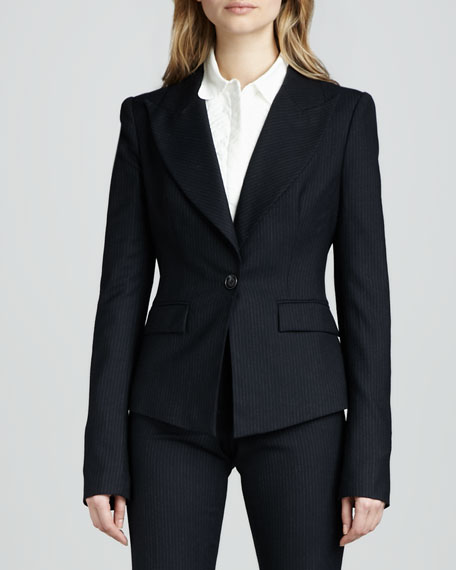 Christina Fitted Pinstripe Jacket