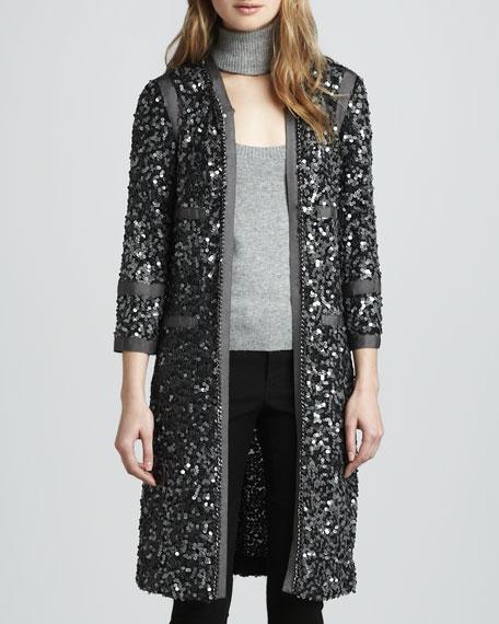 Paulie Long Sequin Jacket, Charcoal