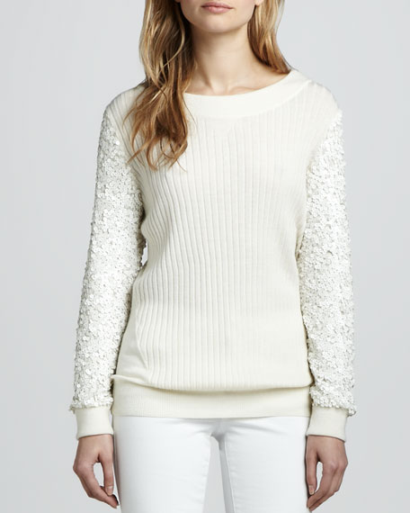 Presley Sequin-Sleeve Sweater, Winter White