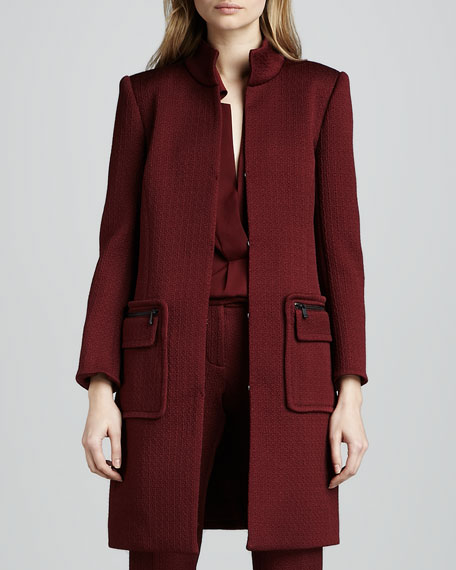 Catalina Stand-Collar Coat, Wine