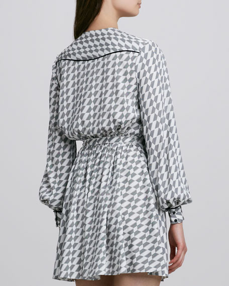 Meryl Micro-Houndstooth Wrap Dress