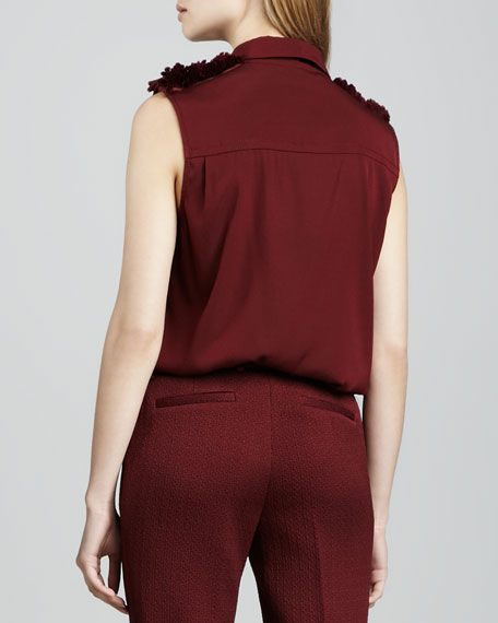 Leighton Shoulder-Accent Blouse, Wine