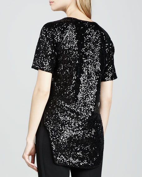 Cecile Raglan-Sleeve Sequin Blouse, Black