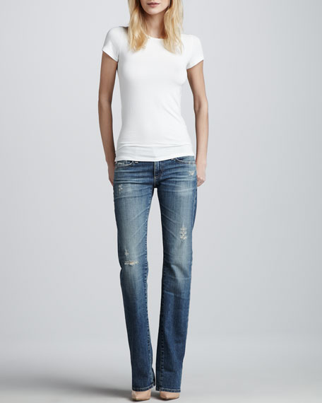 Tomboy Distressed Straight-Leg Jeans