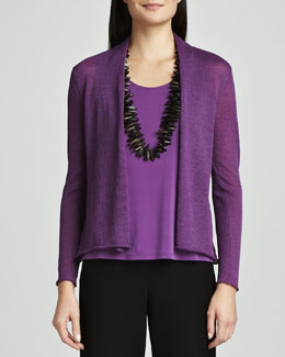 Eileen Fisher Washable Wool Ethereal Ribbed Cardigan