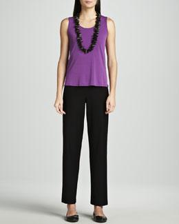 Eileen Fisher Washable-Crepe Straight-Leg Pants, Women's