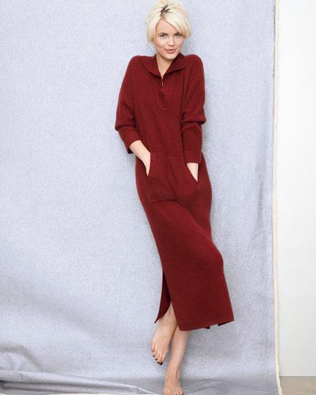 Cashmere Kangaroo-Pocket Lounge Dress