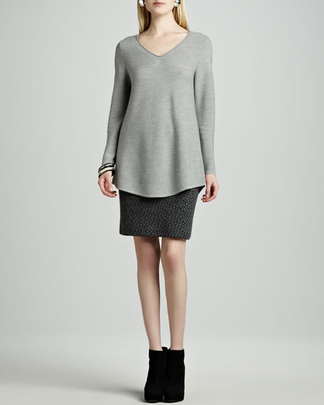 Dot-Felted Merino Skirt, Petite