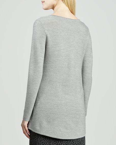 V-Neck Wool Shirttail Tunic