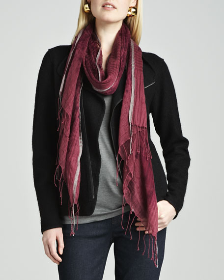 Hazy Linen-Wool Weave Scarf, Fig