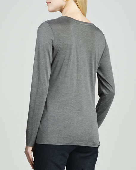 Long-Sleeve Silk-Cotton Tee