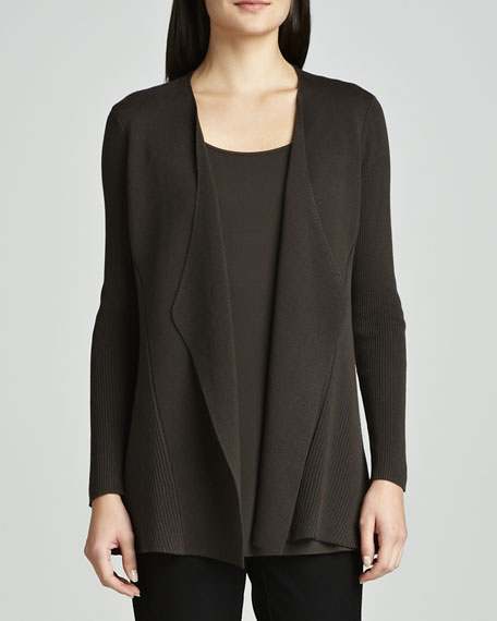 Silk-Cotton Interlock Sweater Jacket, Women's