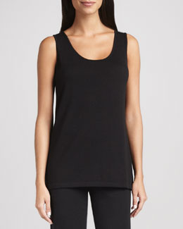 Neiman Marcus Long Scoop-Neck Tank