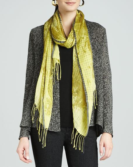 Hazy Linen-Wool Weave Scarf, Peridot
