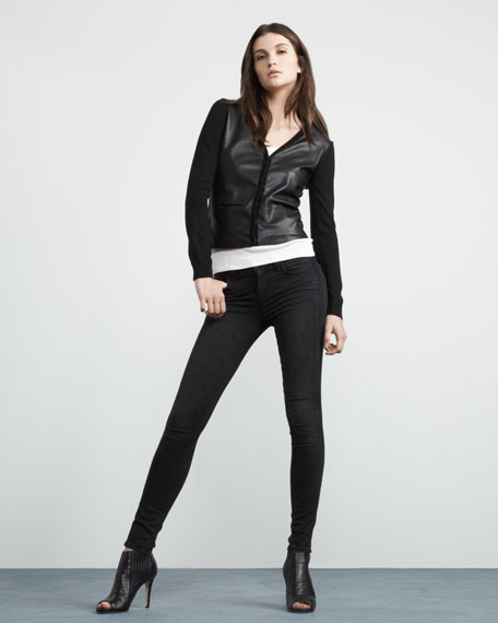 Eileen Leather-Front Cardigan