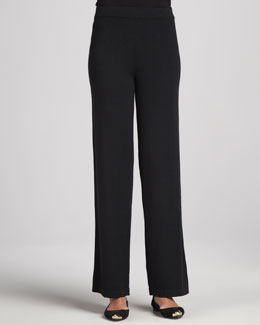 Neiman Marcus Knit Wide-Leg Pants