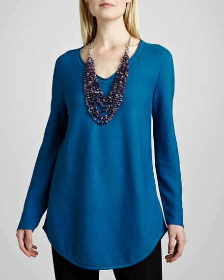 Organic Cotton V-Neck Shirttail Tunic, Petite