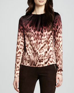 J Brand Ready to Wear Janine Ombre Leopard-Print Blouse