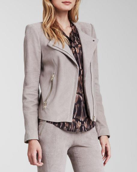 Jacqueline Asymmetric Suede Jacket