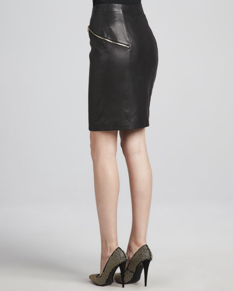 Maxine Front-Zip Leather Skirt