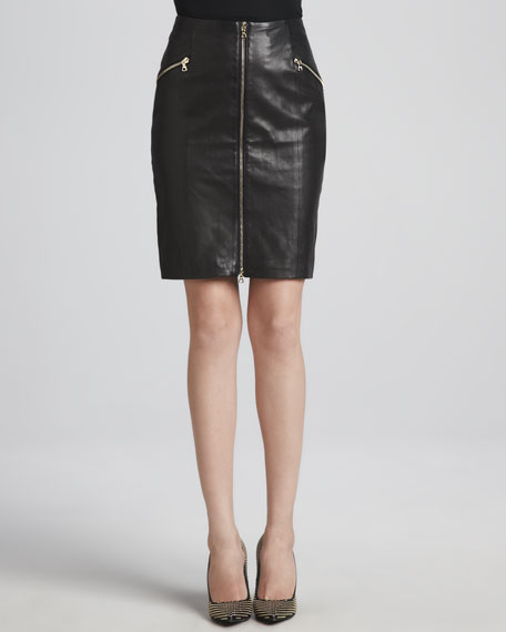 front zip leather skirt dress