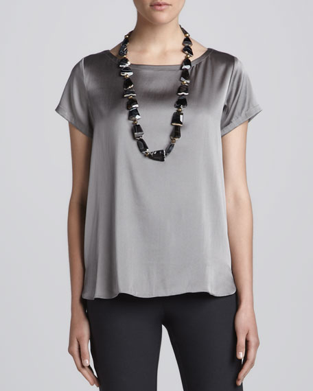 Charmeuse Boxy Boat-Neck Top