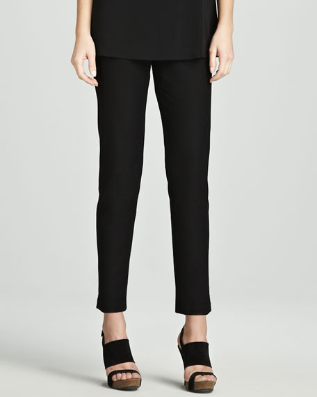 Slim Stretch Crepe Ankle Pants, Petite