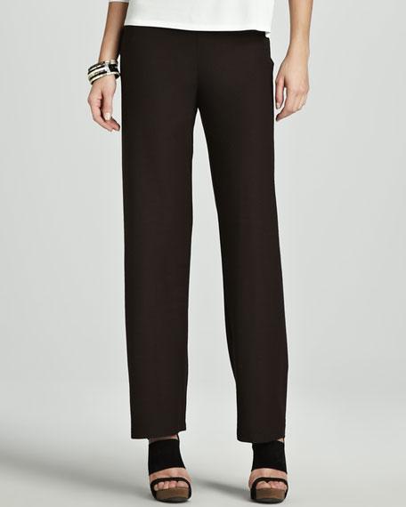 Washable-Crepe Straight-Leg Pants, Petite