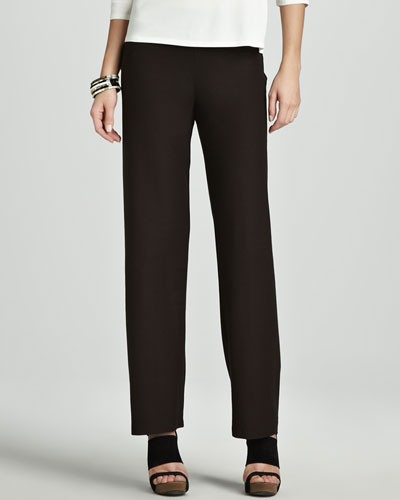 Washable-Crepe Straight-Leg Pants, Women