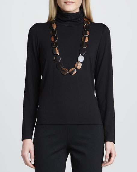 Scrunch-Neck Long-Sleeve Top