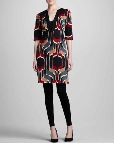 Printed Ponte Tunic Dress, Women's